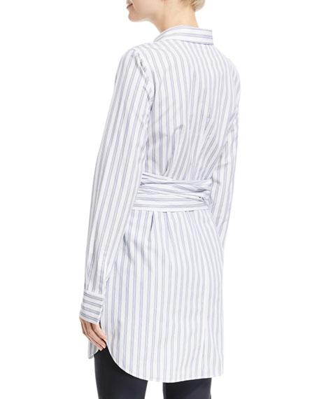 Cordelia Striped Wraparound-Waist Blouse
