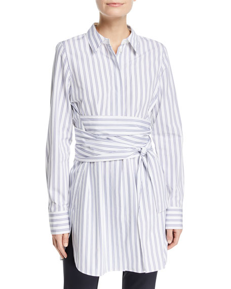 Cordelia Striped Wraparound-Waist Blouse