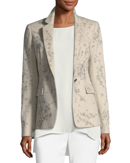 Lyndon Floral-Embroidered Cashmere Jacket
