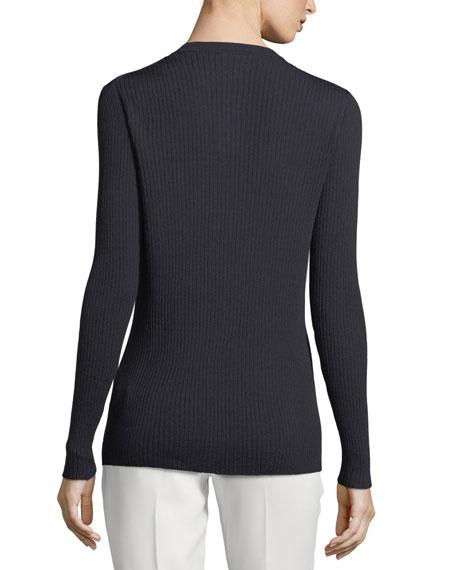 Modern Rib-Knit Button-Front Cardigan