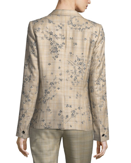 Lyndon One-Button Plaid Floral-Embroidered Jacket