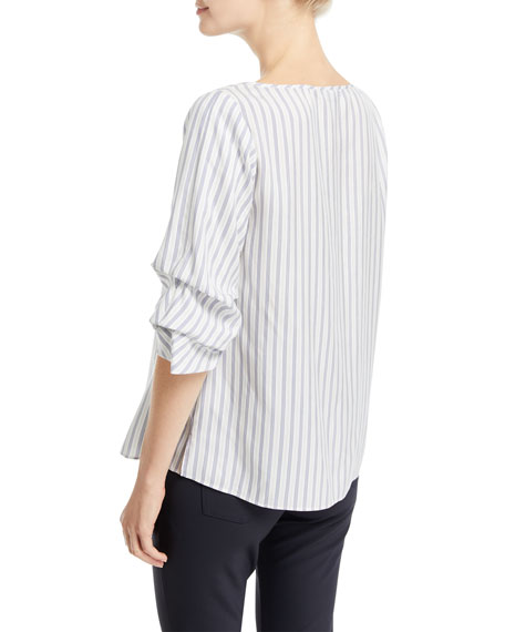 Zaina Silk Stripe Blouse w/ Tucked Sleeves