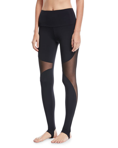 High-Rise Stirrup Leggings with Mesh