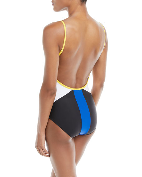 Boomer Colorblocked Backless One-Piece Swimsuit
