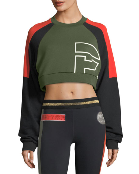 All-Rounder Colorblocked Cropped Sweatshirt