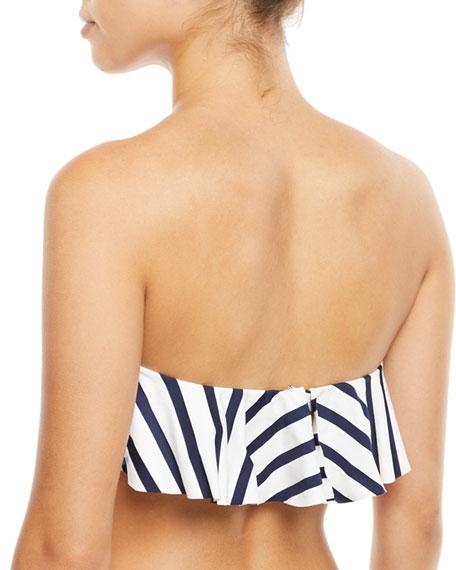 Striped Ruffle Bandeau Swim Top