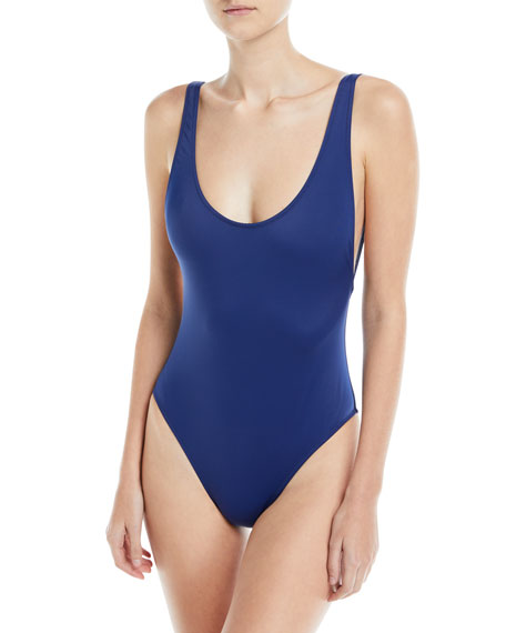 Deep Side-Scoop Open-Back One-Piece Swimsuit