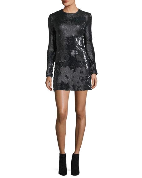 Siggy Jewel-Neck Long-Sleeve Sequined Mini Dress