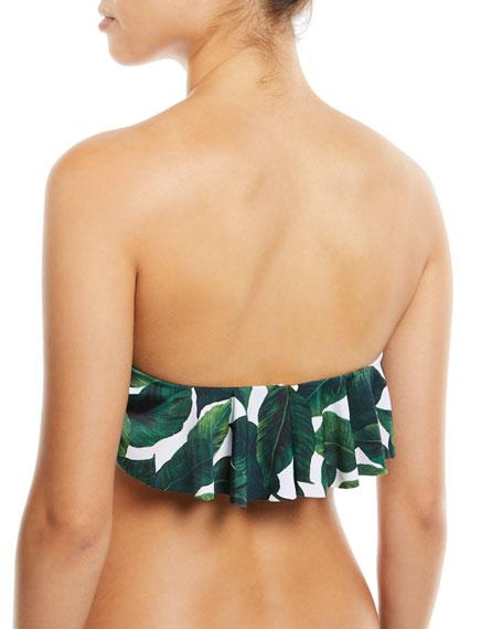 Ruffle Bandeau Leaf-Print Swim Top