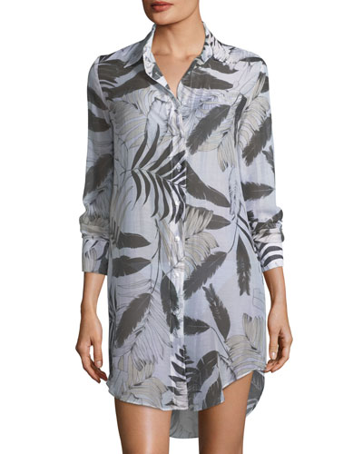 Jessica Long-Sleeve Button-Front Coverup Shirt