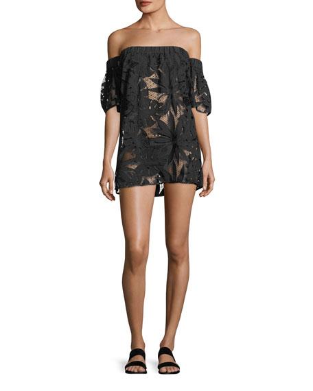 Off-the-Shoulder Flutter-Sleeve Shift Coverup Dress