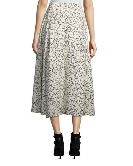 Printed Fluid A-Line Maxi Skirt