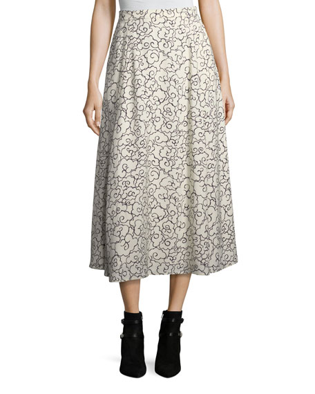 Printed Fluid A-Line Maxi Skirt