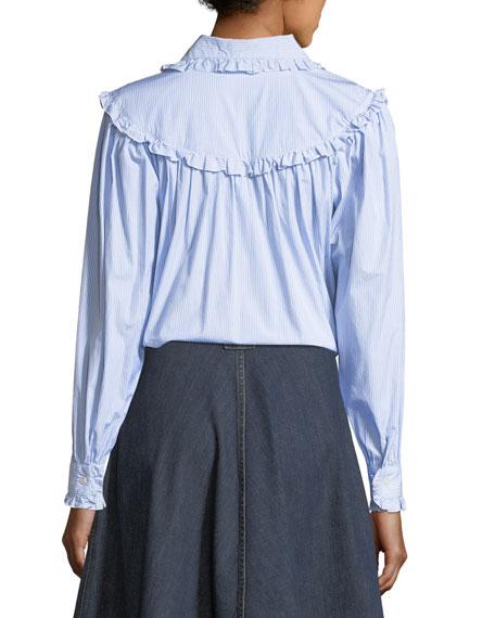 Frill-Trim Button-Front Oversized Denim Shirt