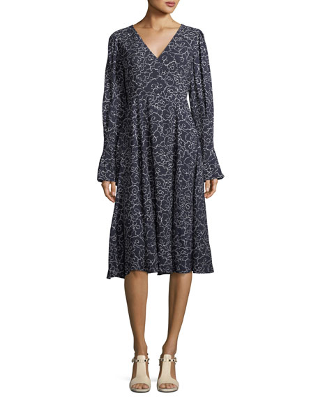 V-Neck Long-Sleeve A-Line Printed Midi Dress