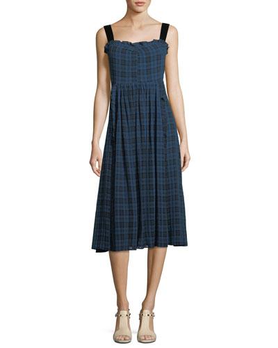 Plaid Gathered A-Line Midi Dress with Velvet Straps