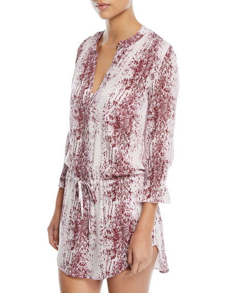 Monaco V-Neck Printed Cotton Tunic Coverup