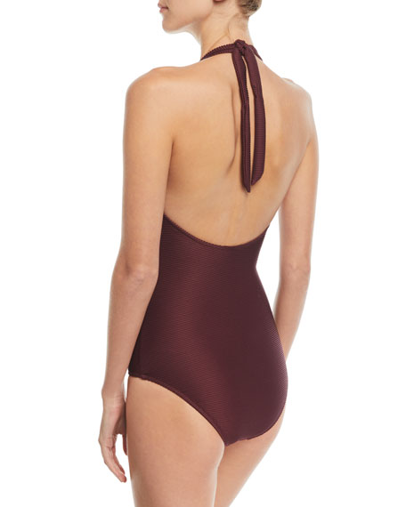 Monaco Plunging Halter V-Bar One-Piece Swimsuit