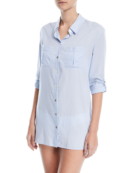 St. Barths Dipped Hem Cotton Shirt