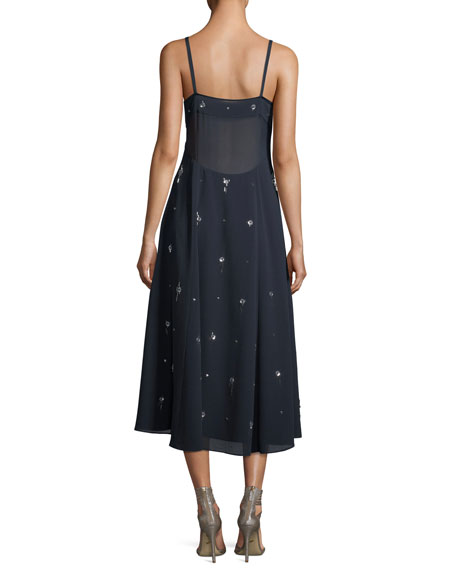 V-Neck Sleeveless Embellished Cami Midi Dress