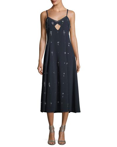 V-Neck Sleeveless Embellished Cami Midi Dress