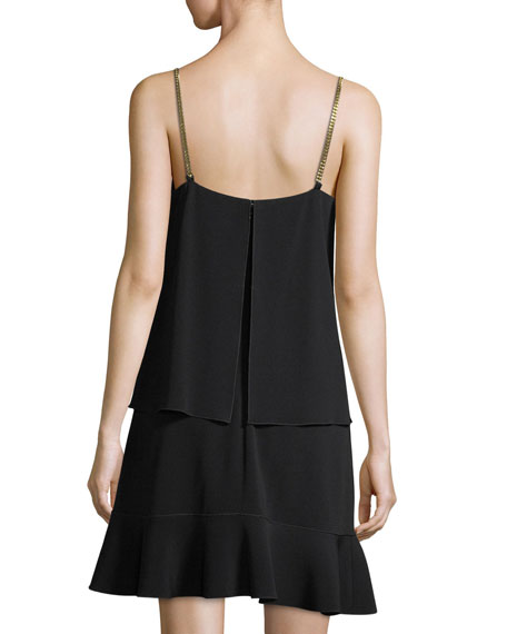 Layered Camisole Crepe Dress with Flounce Skirt
