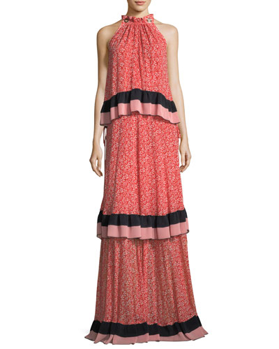 Sleeveless Tiered Floral-Print Maxi Dress