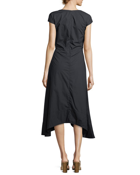 Cap-Sleeve V-Neck Cotton Poplin Midi Dress with Lacing