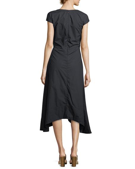Cap-Sleeve V-Neck Cotton Poplin Midi Dress with Lacing