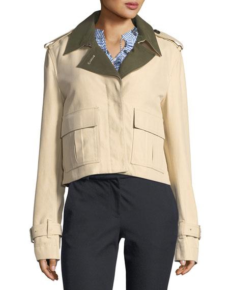 Short Button-Front Anorak Jacket