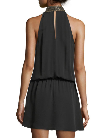 Mila Choker-Collar Sleeveless Silk Mini Dress