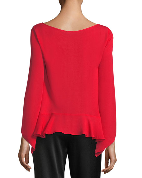 Violet Long-Sleeve Silk Top