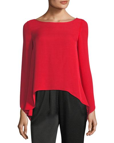 Violet Long-Sleeve Silk Top