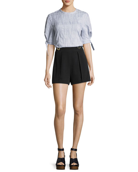 Crepe Shorts with Grommet Details