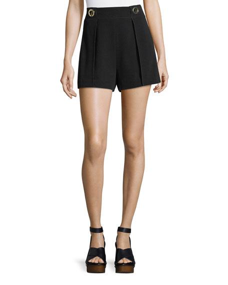 Crepe Shorts With Grommet Details, Black