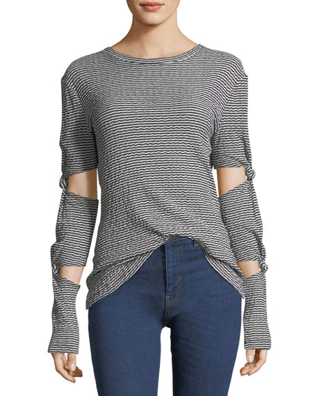 Long-Sleeve Striped Top with Knotted Sleeves