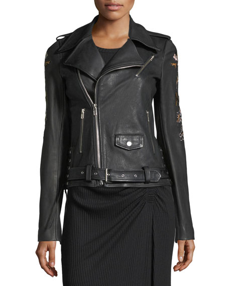 Benson Leather Moto Jacket with Floral-Embroidery