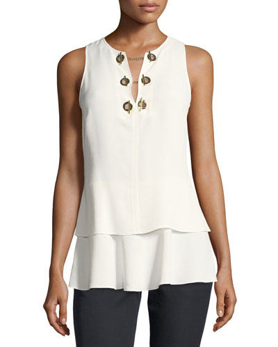 Sleeveless Silk Top with Grommet Detail
