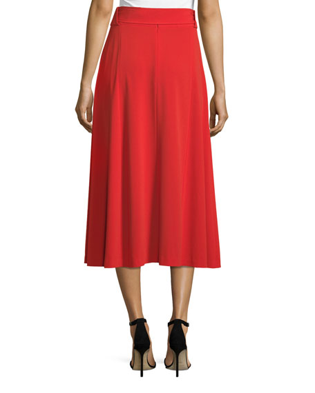 Belted Crepe Midi Dress with Slits