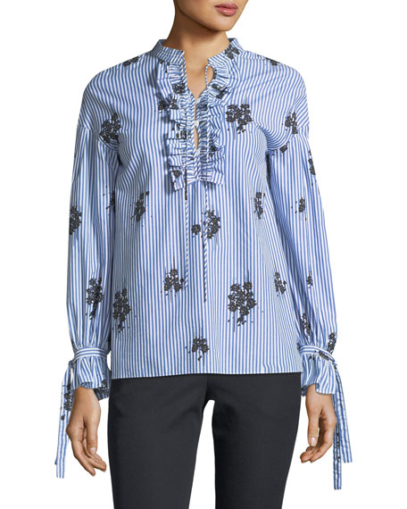 Long-Sleeve Striped Cotton Blouse with Ruffled Trim