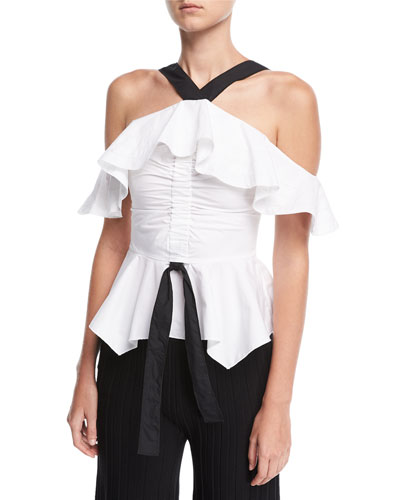 Off-the-Shoulder Halter Ruffled Top