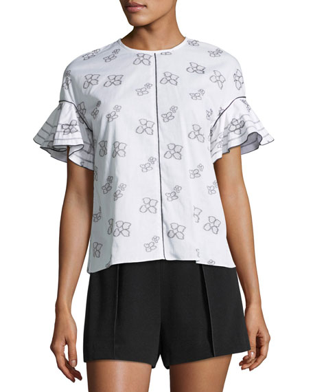 Ruffle-Sleeve Button-Back Printed Top