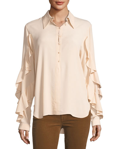 Button-Front Shirt with Ruffled Trim