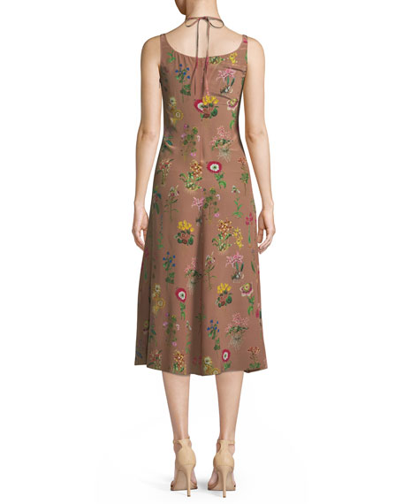 Floral-Print V-Neck Silk Midi Dress with Jeweled Embellishment