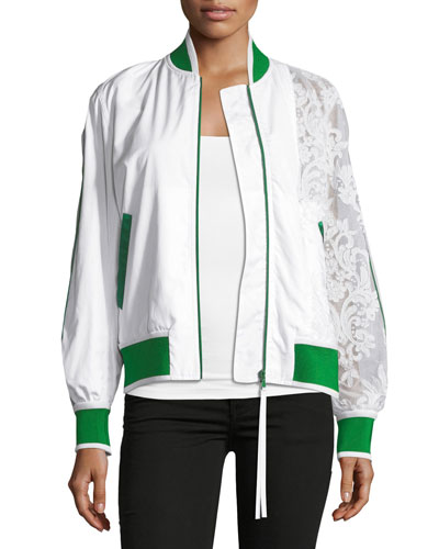 Zip-Front Sports Bomber Jacket with Lace Sleeve
