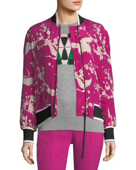 Zip-Front Silk Bomber Jacket