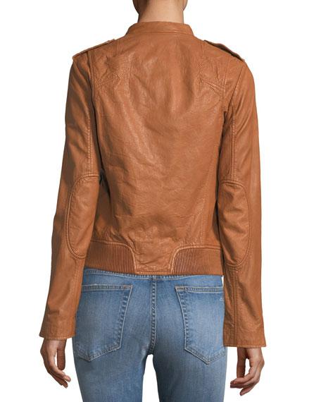 Lyon Zip-Front Leather Jacket