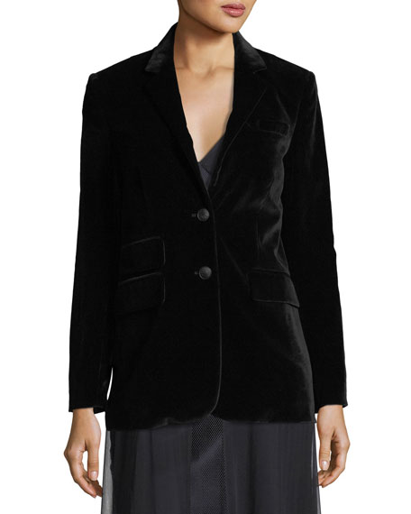 Rona Two-Button Velvet Blazer