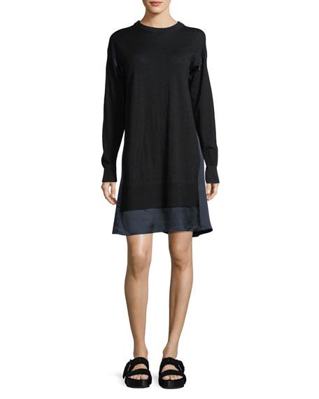 Sadie Crewneck Long-Sleeve Wool Sweater Dress