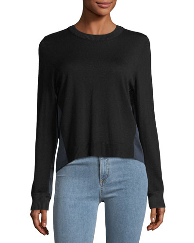 Sadie Crewneck Long-Sleeve Merino Wool Sweater